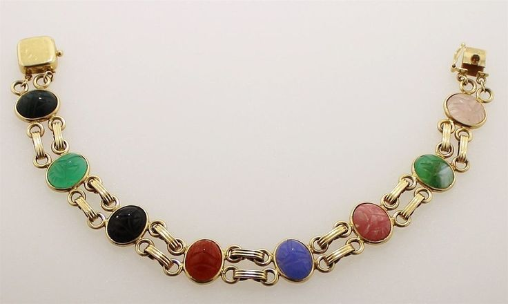 Vintage 14K Gold Egyptian Revival Double Linked 8 Gemstone Scarab Bracelet #Chain