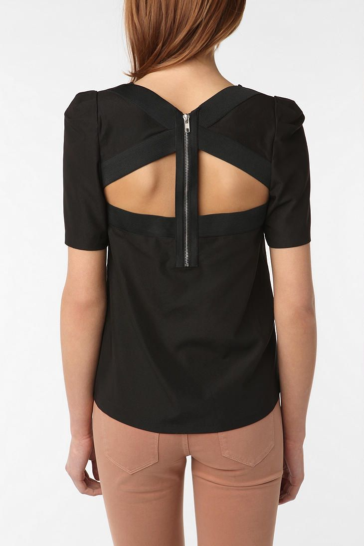 back- detail!: Cutouts, Urban Outfitters, Blouse, Shirts, Color Pants, Zippers, Cut Outs, Open Back, Back Details