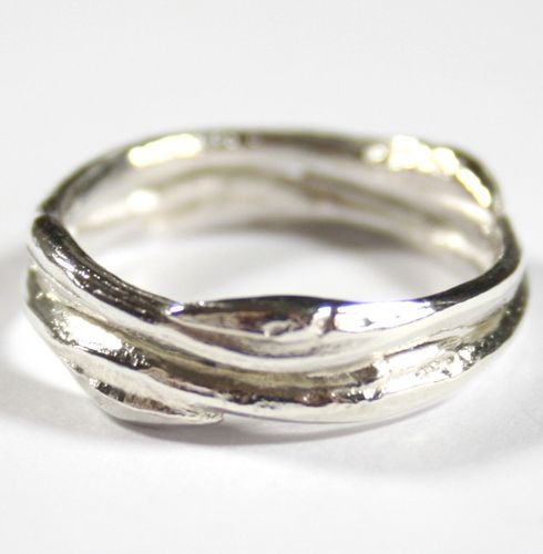Sterling Silver Double Band Cast Willow Ring