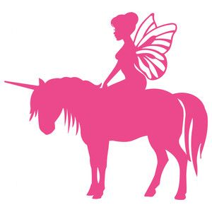 Silhouette Design Store: fairy and her unicorn