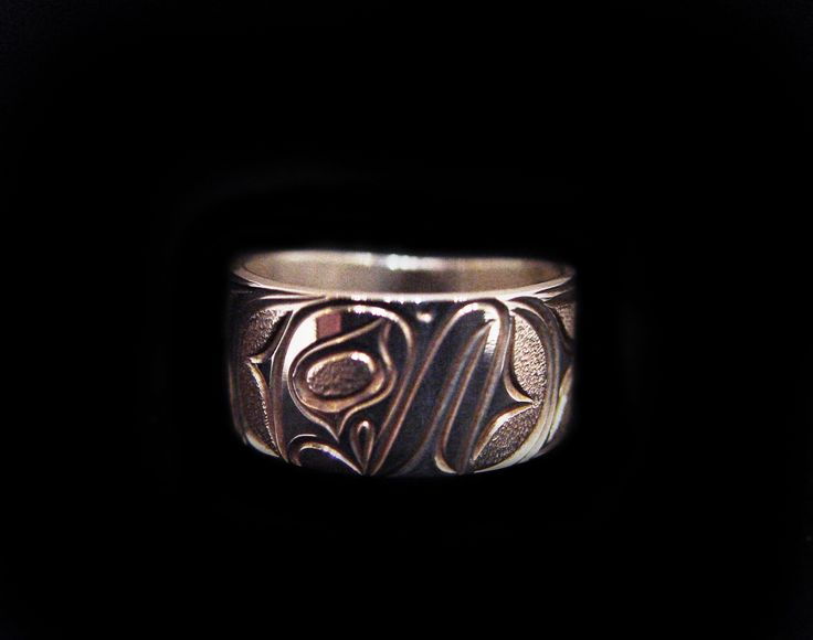 "Moon Ring, Joe Decoteaux. Sterling silver, 0.38"". Northwest Coast First Nations Jewelry."