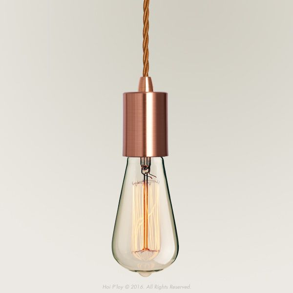 Copper Ceiling Pendant Light with Edison Screw Lamp Holder.  Select your required length for the Fabric Cable Cord by clicking on the drop down box below.  .  Lengths are available with an option including a Vintage Squirrel Cage Bulb, at an additional R100.00  The Ceiling Pendant is made up of;   	Small Copper Ceiling Cup with a Copper Cable Grip. 	Twisted Copper Fabric Cable Cord 3 core 	Copper Fitting Cup with a Copper Cable Grip