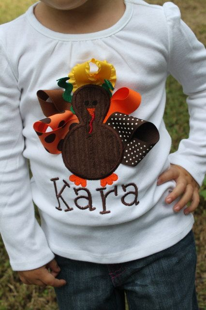 Thanksgiving Shirt for girls -- Pretty Little Turkey -- long sleeve shirt for babies, toddlers and big girls-- personalized with name. $30.00, via Etsy.