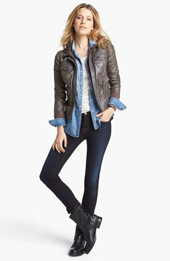 Halogen® Hooded Leather Jacket, Rubbish® Chambray Western Shirt (Juniors), Caslon® Tee & J Brand Jeans, Frye 'Veronica' Back Zip Short Boot