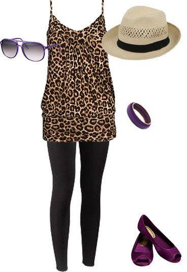Festival-Outfit 2: Rock-Chick-Look - Festival: Die schönsten Outfits - In diesem coolen Festival-Outfit verwechselt man Sie sicher mit Stilikone Kate Moss! Kombinieren Sie zum Leo-Shirt eine schwarze Leggins, einen lässigen Herren-Strohhut und lila Accessoires...