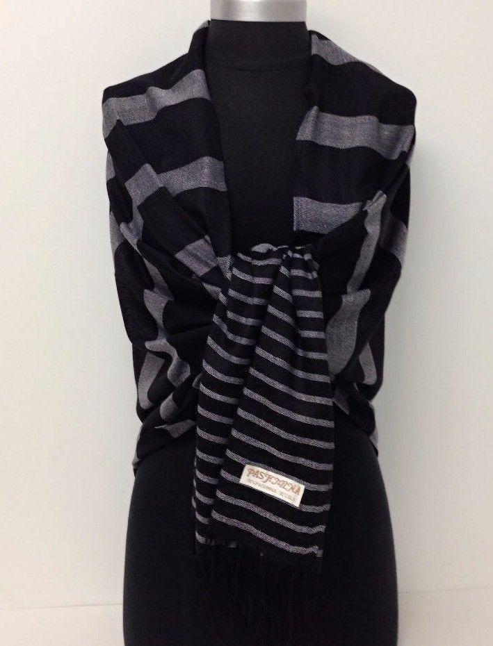 Women Soft Pashmina Silk Classic Black/White Strip Stole Wrap Shawl Scarf