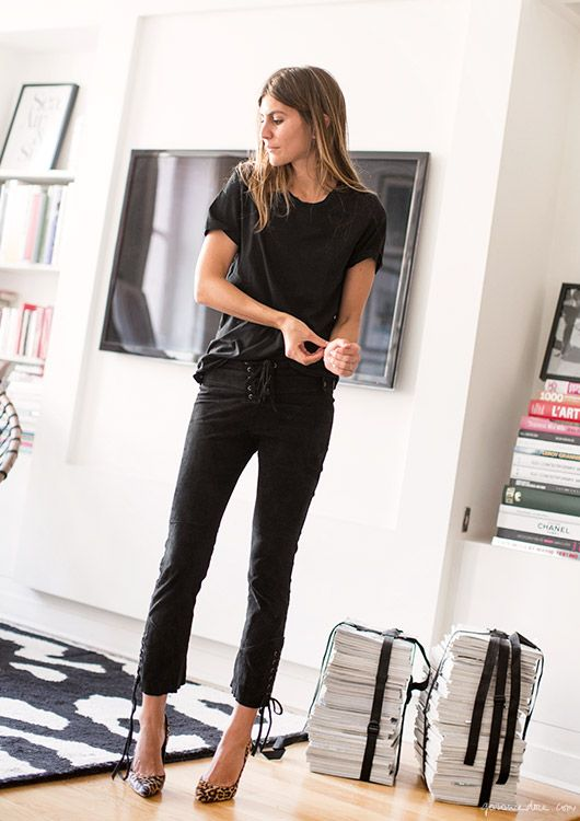 Morgane Bedel, style story, Paris, leather pants, Isabel Marant; leopard heels Gianvito Rossi / Garance Doré