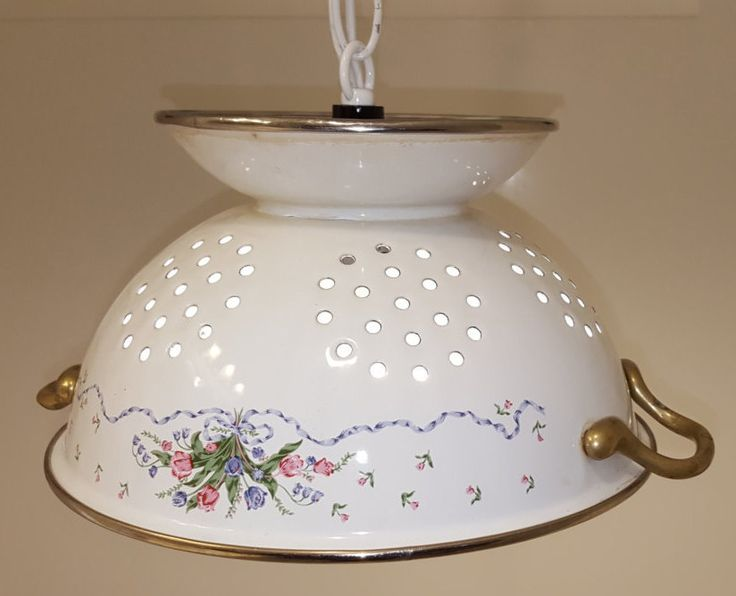 Colander Lamp, Chandeliar Light, Unique Lighting, Country Decor, Home Accent, Porcelain, Swag, Kitchen, Repurposed, White and Flowers, Cabin by CreativeMarc on Etsy