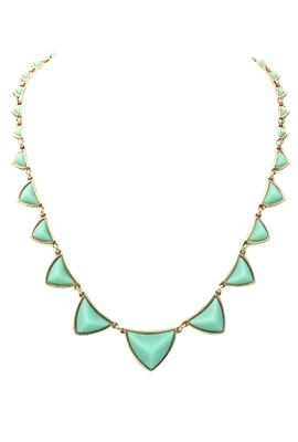 House of Harlow 1960 Pyramid Station Necklace in Mint Green: Neutral Outfit, Mint Necklace, House, Green Necklace