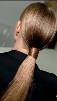 [HAIR] Low, clean tight ponytail. Secured by own hair