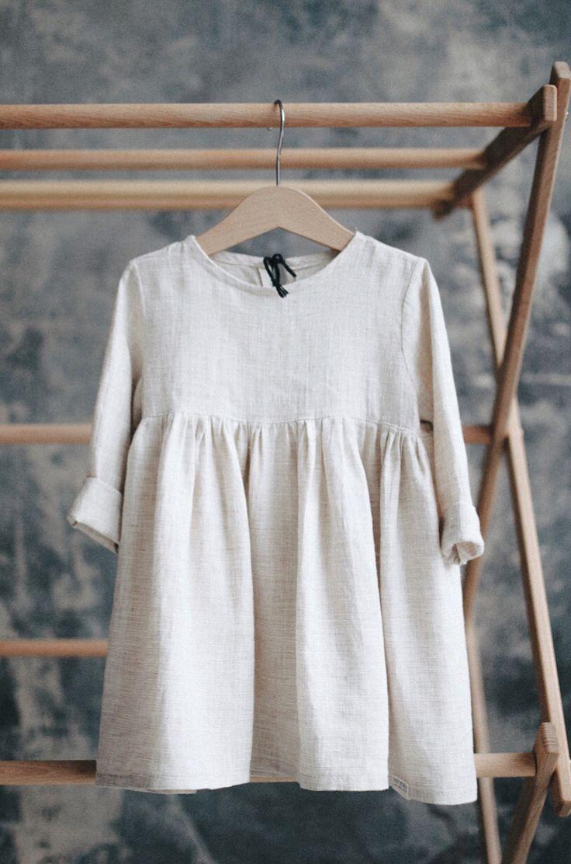 Schönes handgemachtes Leinen Baby Kleinkind Kleid