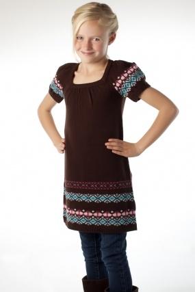Girls, Sweater dress. Tunic - fair isle pattern. (Knitting Pattern)