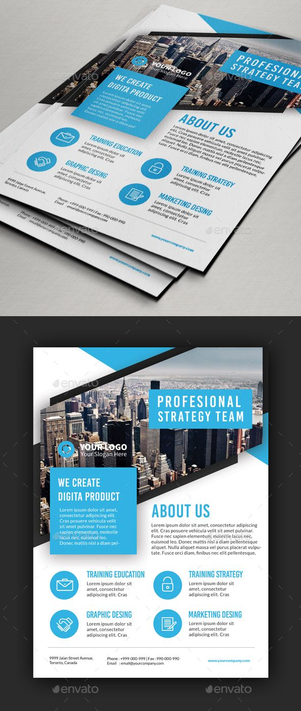 Multipurpose Blue Theme Flyer Template PSD