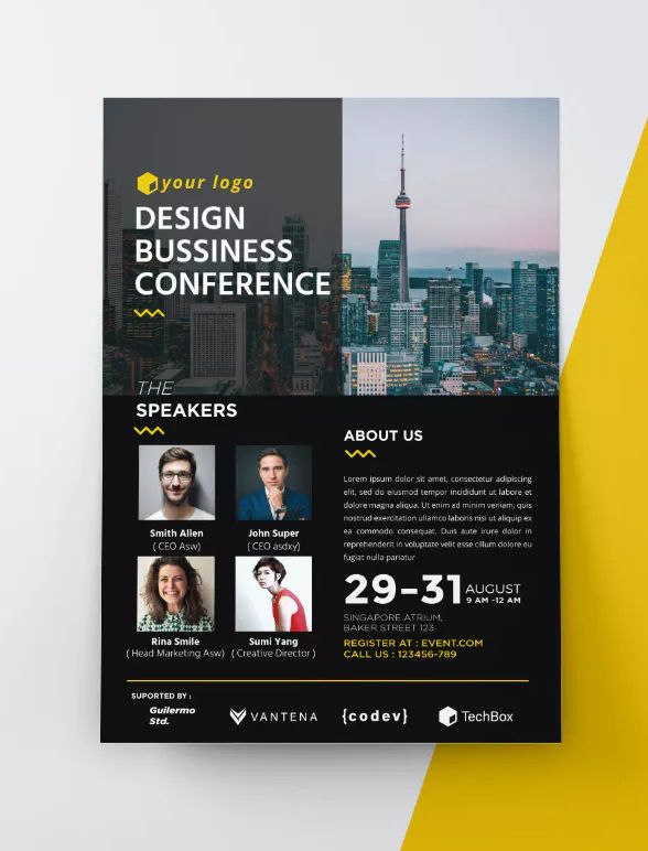Event / Conference Flyer Template AI, EPS - A4 size (8,27 x 11,69
