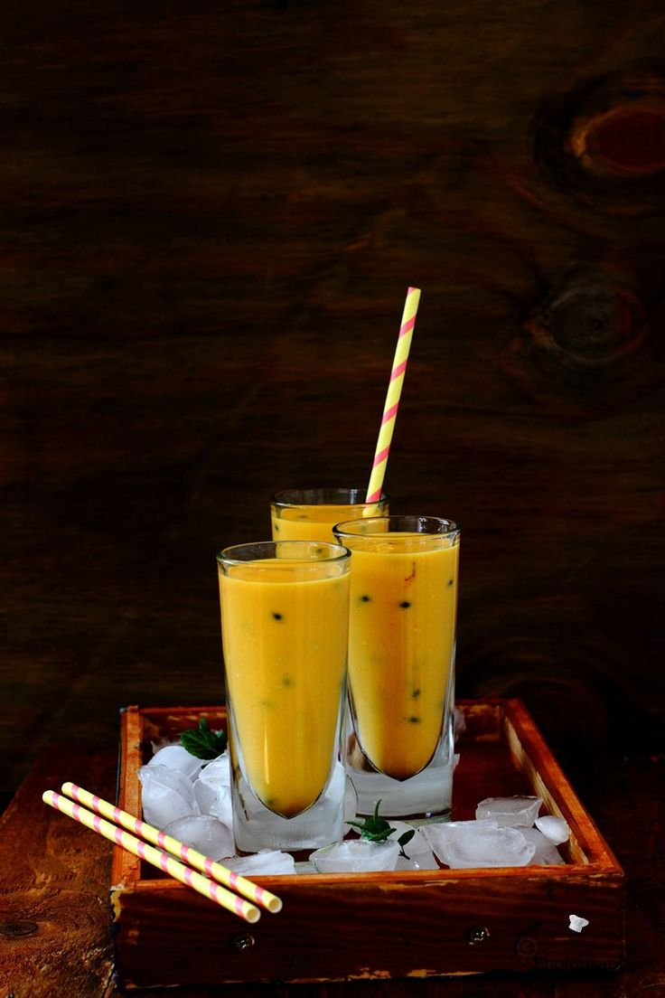 Mango, Passion Fruit and Coconut Lassi, a tropical fruit blend with beaten low fat coconut yogurt, bursting with exotic and tropical flavour, cannot be missed,