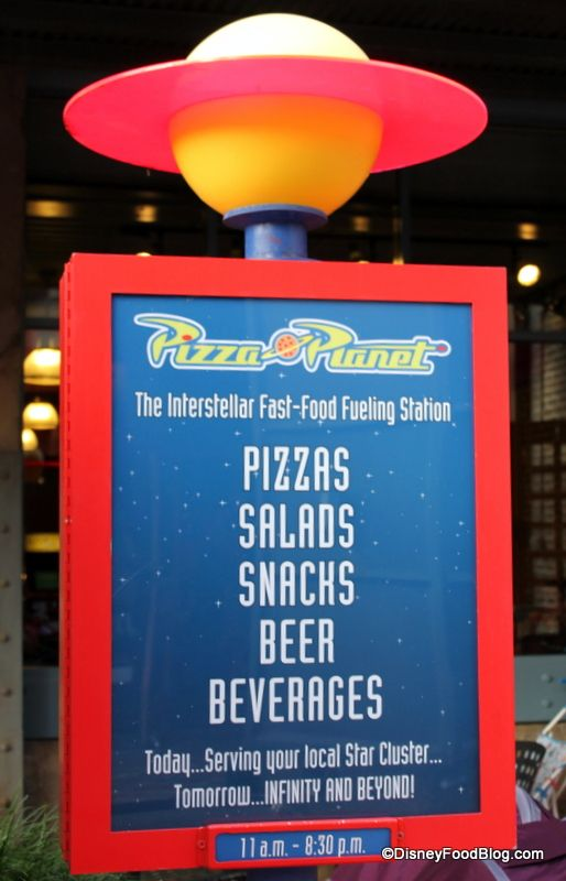 pizza planet general menu board