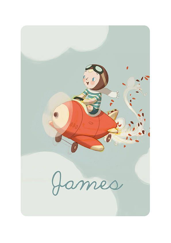 Adorable and individually unique hand drawn personalized illustration that depicts your child in a vintage plane picture. The print is a fun loose representation with naive and charming style. Perfect for a nursery or little boys room and for any kid at heart. By Posh Totty Designs Interiors and available for purchase at Not on the High Street in the UK for 45 British pounds