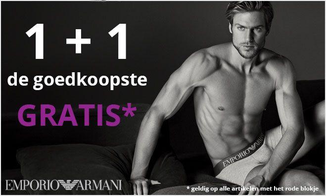 ACTIE TIJD; Emporio Armani 1+1 GRATIS Op alle heren- en damesartikelen van Emporio Armani, alle combinaties mogelijk, de actie 1+1 gratis, waarbij we het goedkoopste artikel dus gewoon weggeven.  De actie artikelen zijn herkenbaar aan het rode blokje.  #boxershorts #underwear #ondergoed #emporioarmani #armani #actie #twyst #verjaardag #vaderdag #verrassing #cadeau #ea7