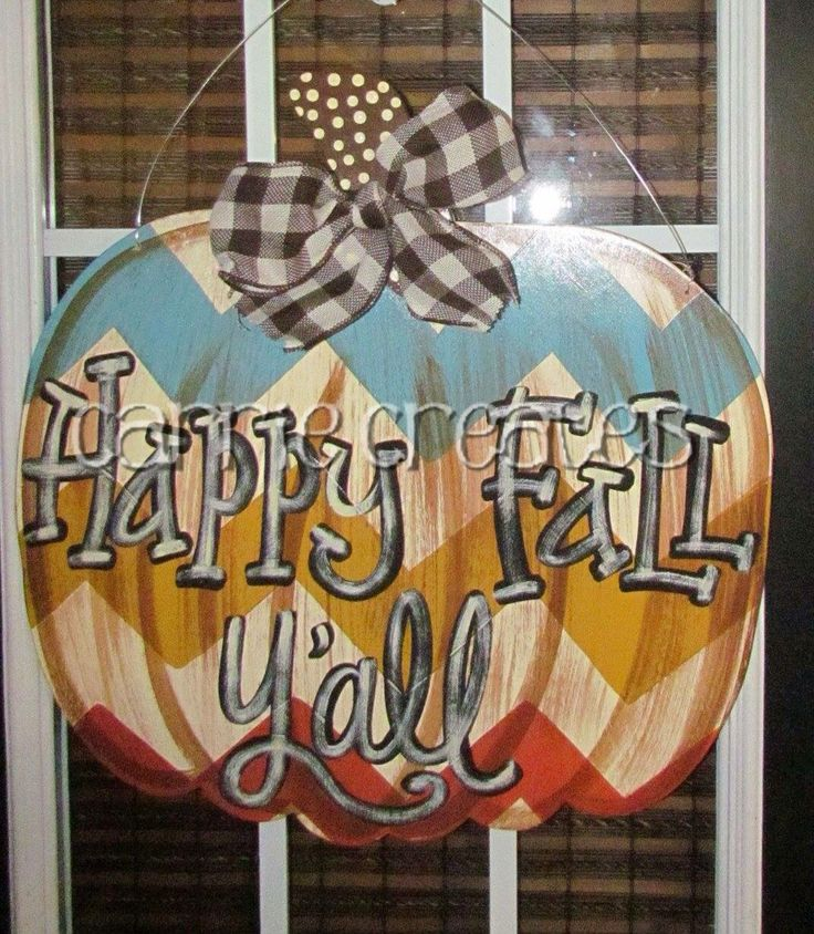 Aqua/Gold/Orange Chevron Fall Pumpkin Door Hanger $45 (ship anywhere in US) happy Fall y'all, Thankful, Blessed or can be personalized with last name. Perfect for any outdoor fall decor.  www.creationsbycarrieb.com Order on FB @ Carrie Creates
