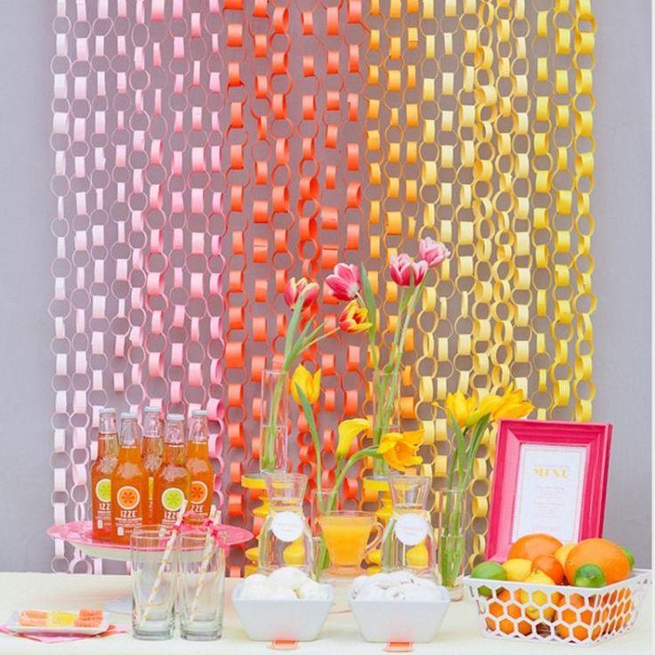 Papierketten in ähnlchen Farben für Farbverlauf Effekt
