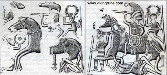 Designs from the plates from two vendel helms:  Valsgarde 7 on left, Valsgard 8 on right.  In the picture on the left, it is believed that Odin is directing the spear of the warrior on horseback.