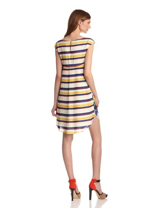 Amazon.com: Jessica Simpson Women's Printed Back Pleat Dress, Cream/Primary Stripe, 6: Clothing