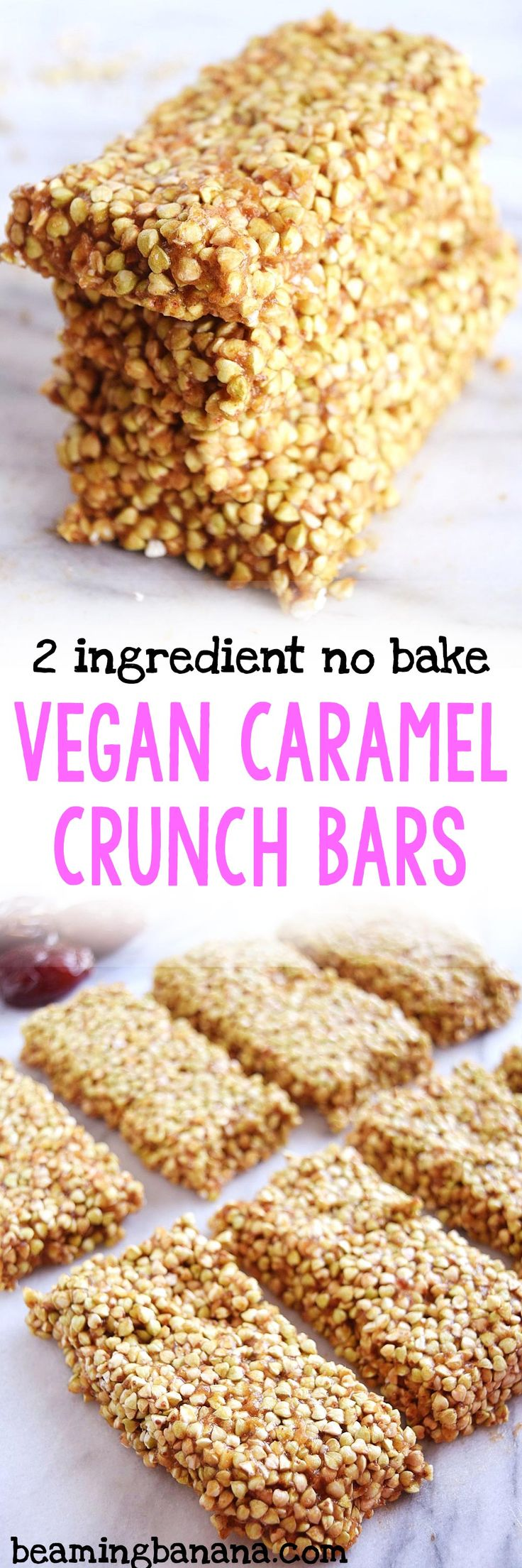 Vegan caramel crunch bars are full of crunchy texture and sweet caramel flavor! Made with just 2 ingredients, gluten free and naturally sweet.