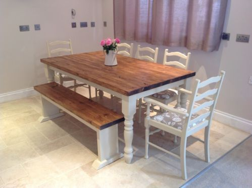 Shabby Chic Rustic Farmhouse Solid 8 Seater Dining Table Bench And 6 Oak Chairs