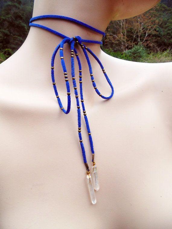 Aura Quartz Crystal Necklace / Tie Up by FeathermoonByronBay