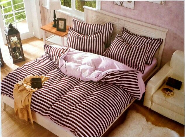 Brown and pink stripes 100% Cotton bedsheet