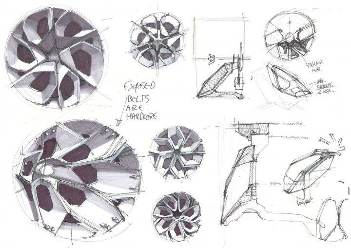 Jaguar C X75 Concept Wheel Design Sketch.