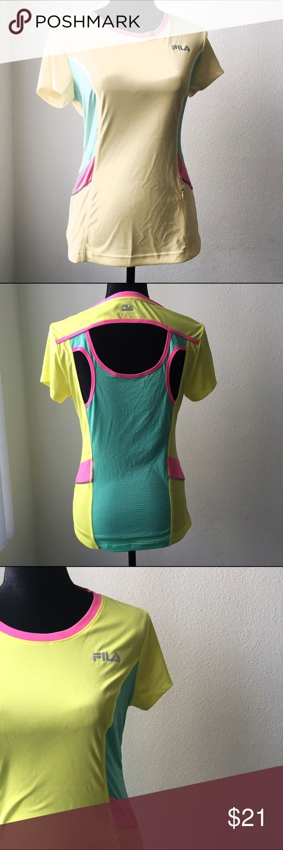 Fila Workout Out Top Neon Colors Cutout Back Sz M Fila | Size Medium | Neon Yellow, Green, Pink | Cutout Back | Workout Top Fila Tops Tees - Short Sleeve