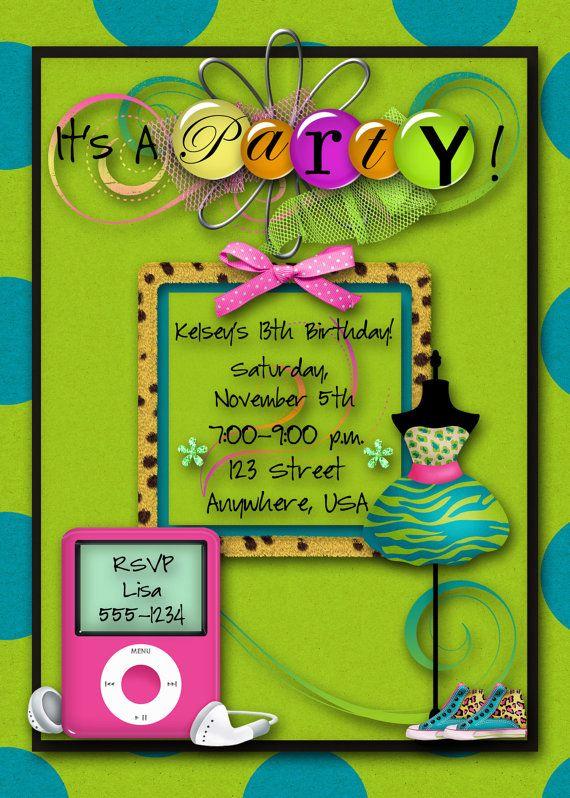 Hip Teenage Girl Birthday Party Invitation: http://www.etsy.com/listing/85195736/birthday-party-invitation-girl-hip-hop