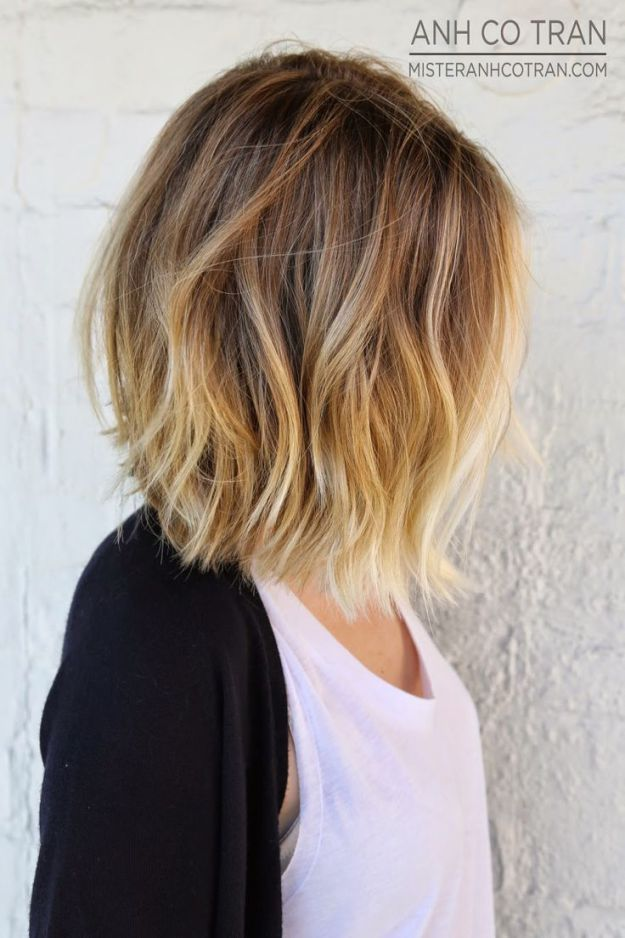 Dark-blonde to wheaty-blonde ombre on lightly-waved medium bob haircut Credit This long bob is a great choice for fine hair and medium hair, as the long layers