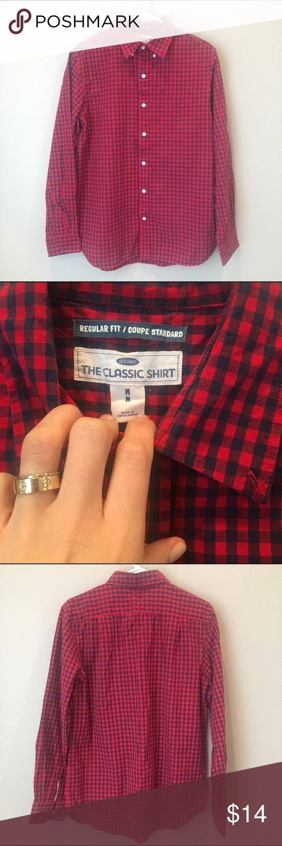 Men's Old Navy Red and Navy Plaid Shirt Old navy men's red and navy button up shirt. 100% cotton. Size medium, excellent condition! Old Navy Shirts Casual Button Down Shirts