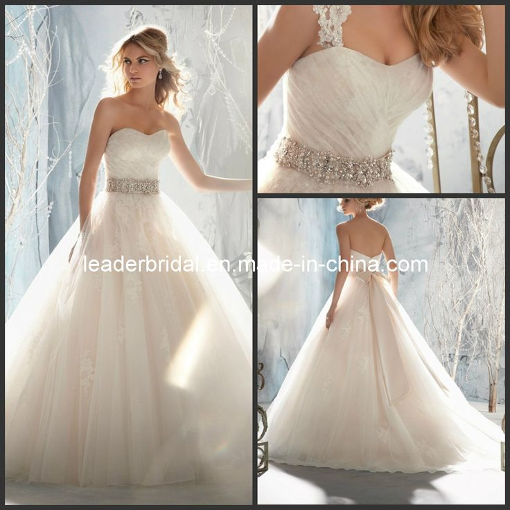 New Wedding Dresses A-Line Lace Tulle Bridal Ball Gowns Dismountable Lace Strapls Wedding Gowns (M1959) Photos & Pictures