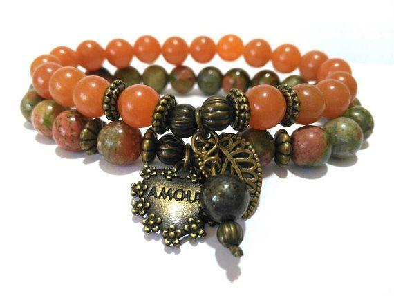 Heart Leaf Charm Bracelet Gemstone Healing Beaded by LotusandStone