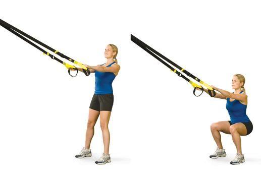 4. TRX Squat 4. TRX Squat  Utilizando el entrenador de suspensión para realizar una sentadilla le ayudará a perfeccionar su forma y participar de su núcleo de una nueva manera. CÓMO HACERLO: Párese frente del entrenador de suspensión con los mangos en sus manos y un poco de tensión en las correas. Mantenga su peso en los talones y se centran en la participación de su núcleo. Baje las caderas hacia abajo y hacia atrás hasta que se doblan las rodillas justo debajo de 90 grados. Mantenga su…