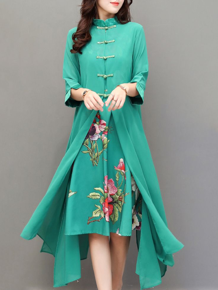Hot saleVintage Chinese Style Flower Printed Two-Layer Women Dresses Cheap - NewChic Mobile.