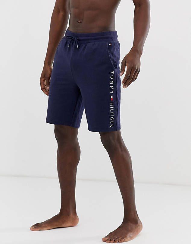 Pantalones Cortos De Punto Con Logo Lateral En Azul Marino De Tommy Hilfiger Ropa De Hombre Ropa Pantalones Cortos De Punto