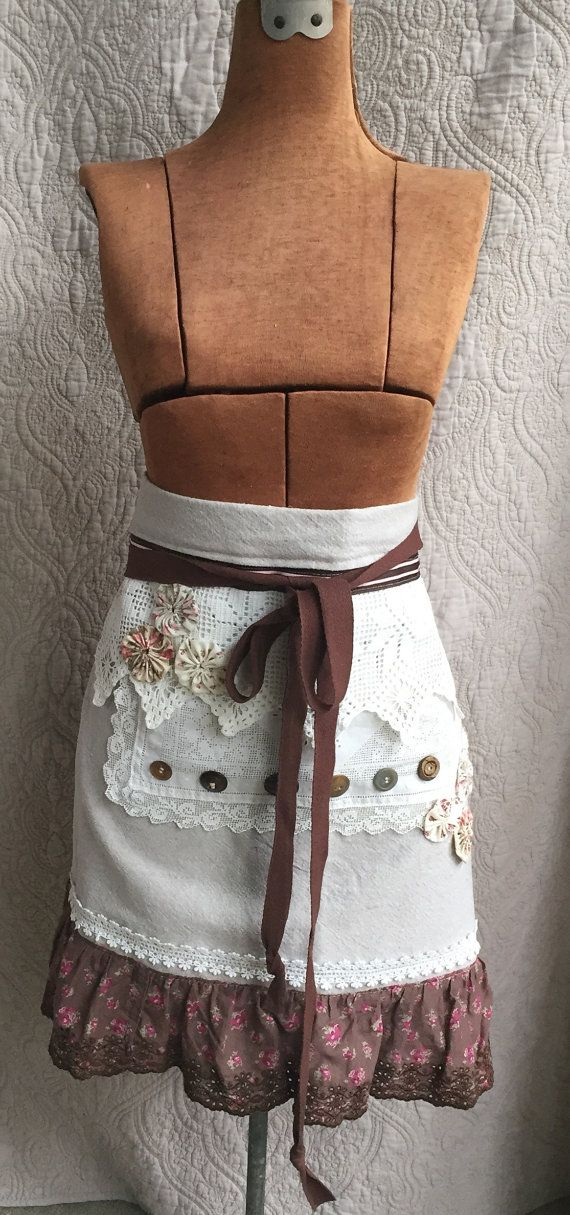 OOAK Upcycled Apron Vintage Repurposed Linens  by ApprenticeWizart