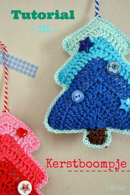 Tutorial kerstboompje NL!    Op veler verzoek hier de Nederlandse beschrijving van dit patroon. Omdat ik drie kleuren gebruik voor de boom...