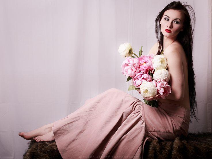 Pink corduroy designer skirt, size 10. Model Skylar Leigh