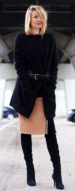 Chic street style | Belted black cardigan, slit cream skirt and over the knee boots