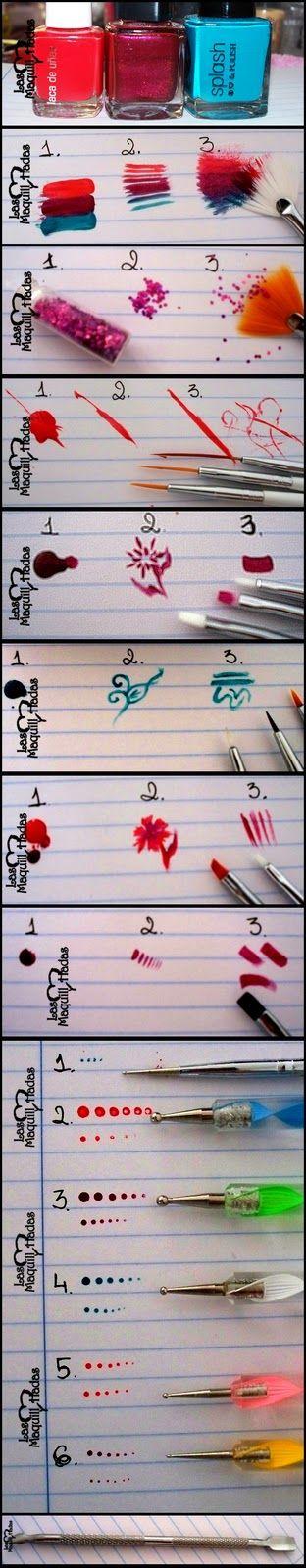 Tutorial: Pinceles para nail art y como utilizarlas [Nail art brushes and how to use them] | ! Laura♥LMH !