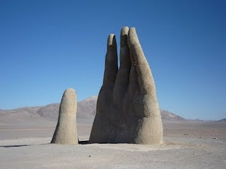 Atacama Desert in Chile.  This stone hand is about 36 feet tall
