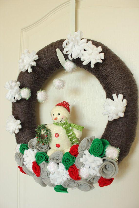 Snowman Winter Yarn Wreath Gray Red by TheLandofCraft, $48.00 | https://www.etsy.com/listing/166095256/reserved-snowman-winter-yarn-wreath-gray | #wreath #craft #snowman #homedecor