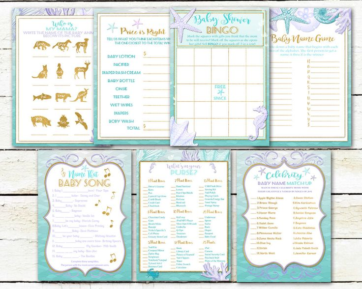 Baby Shower Games- Teal and Purple -Celebrity Name Game-What's in my Purse- Baby Bingo-Ocean Mermaid Under the Sea-Printable by Hottomatoink2 on Etsy https://www.etsy.com/listing/290902623/baby-shower-games-teal-and-purple