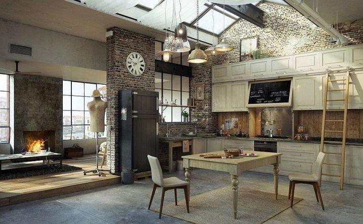 Cuisine industrielle avec toit en verre et esprit atelier d'artiste parisien