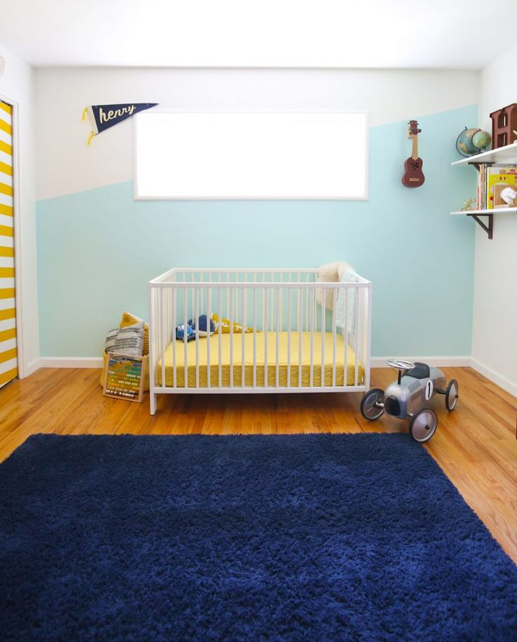 Diagonal painted accent wall with @HGTVHOMEbySW Showcase Paint in Tame Teal from the Fashion Forward Color Collection and #Purdy ! So fun for a kid room. #HGTVHOMEbySW #ad